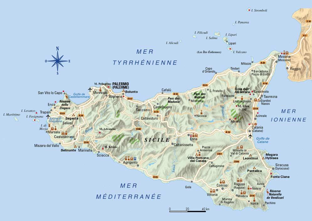 Sicile carte g ographique voyages cartes - Dimension de la sicile ...